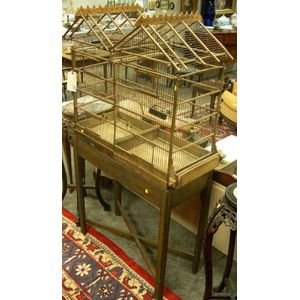 Asian Wood and Wire Double Birdcage on Stand.