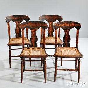 Set of Four Grain-painted Fiddle-back Side Chairs
