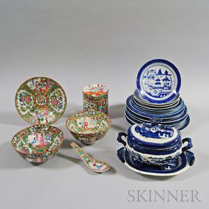 Nineteen Pieces of Mostly Canton Porcelain