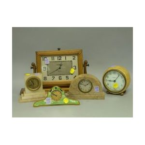Five Art Deco Table and Mantel Clocks