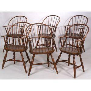 Assembled Set of Six Sack-back Windsor Armchairs