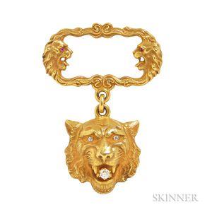 Art Nouveau 14kt Gold and Diamond Brooch, Alling & Co.