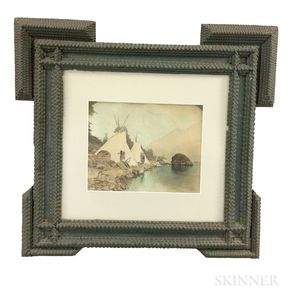 Painted Tramp Art Frame with Gifford Photograph Teepees on the Columbia, Oregon