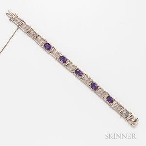 14kt White Gold and Amethyst Filigree Bracelet