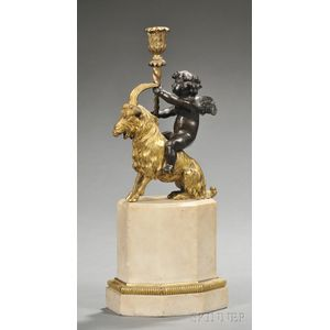 Gilded and Patinated Bronze and Alabaster Figural Candlestick