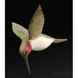 Carved and Painted Hummingbird in Flight Figure