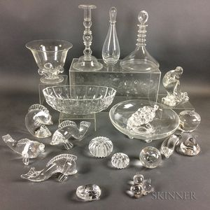 Twenty-two Pieces of Steuben Crystal