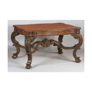 Large and Impressive Carved Walnut Library Table