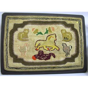 Mounted Cotton and Wool Hooked Rug with Horse, Cat, and Chicken Motifs.