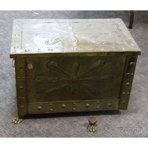 Brass Clad Wooden Kindling Chest.      Estimate $100-150