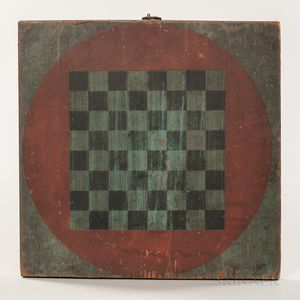 Small Red- and Blue-painted Checkers Game Board