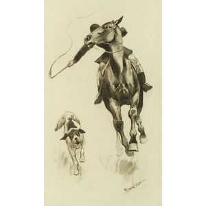 Frederic Remington (American, 1861-1909)  Whipping in the Straggler