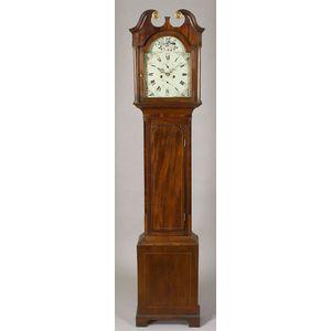 Georgian Inlaid Mahogany and Mahogany Veneer Tall Case Clock