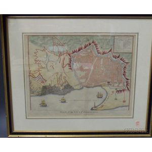 Framed Map of  Plan of City of Barcelona