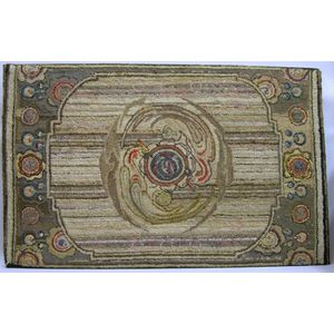 Mounted Cotton and Wool Hooked Rug with Floral Medallion Design.