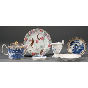 Six Assorted Chinese Export Porcelain Table Items