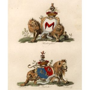 Five Framed English Hand Tinted Engravings of Armorial Coats of Arms