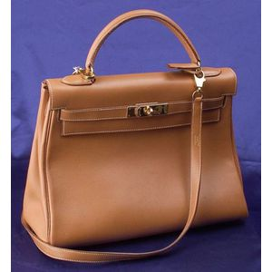 "Gold Courcheval Leather ""Kelly"" Handbag, Hermes"