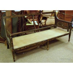Hepplewhite-style Caned Gilt Chinoiserie Decorated Black Lacquered Settee