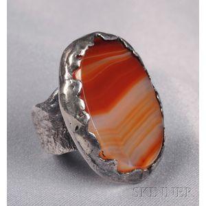 Sterling Silver and Banded Agate Ring, Sam Kramer