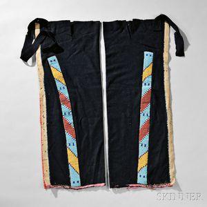 Pair of Northern Plains Blue Trade Cloth Leggings