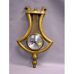 Giltwood Lyre-form Wall Clock.