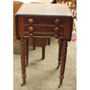 Classical Mahogany Drop-leaf Three-Drawer Work Table with Rope-turned Legs.
