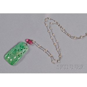 Art Deco Platinum, Carved Jadeite, Tourmaline, and Seed Pearl Necklace