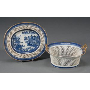 Imperial Nanking Porcelain Reticulated Fruit Basket and Underplate