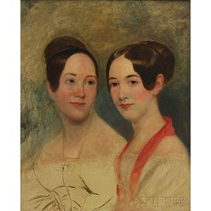 Manner of Thomas Sully (American, 1783-1872)      Portrait Sketch of Two Women.