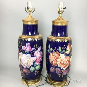 Pair of Hand-painted Floral Porcelain Vases