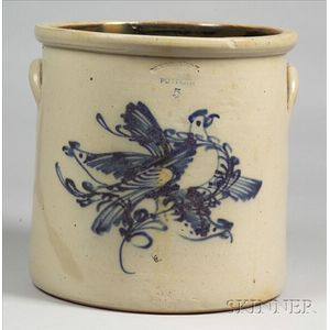 Five-Gallon Stoneware Crock with Three Cobalt Blue Birds
