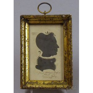 Giltwood Framed Miniature Hollow-cut Bust-length Silhouette Portrait of a Lady