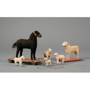 Horse and Sheep Pull-Toys and Four Sheep Figures