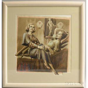 Saul Tepper (American, 1899-1987)      Two Elegant Women at Leisure