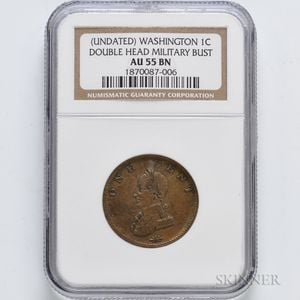 Undated Washington Double Head Cent, NGC AU55 BN.     Estimate $300-500