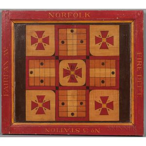 """Paint-decorated """"Norfolk Fire Department"""" Parcheesi Game Board"""