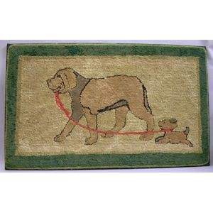 Mounted Wool and Cotton Hooked Rug with Mother Dog and Puppy.
