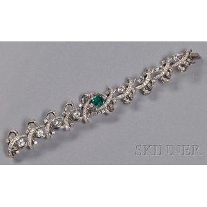 Platinum, Emerald and Diamond Bracelet