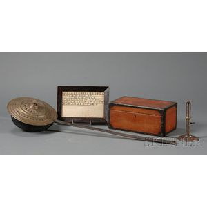 Four Early Items: Bedwarmer, Painted Box, Sampler, and Hogscraper Candlestick