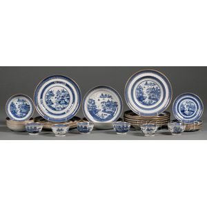 Thirty-two Imperial Nanking Porcelain Tableware Items