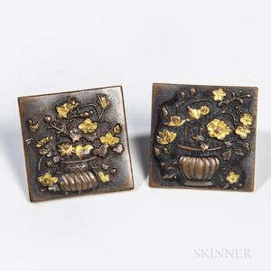 Pair of Square Bronze Cuff Links