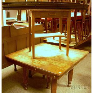 Late Victorian Square-top Oak Dining Table and a Mission Oak One-Drawer Table