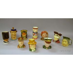 Nine Assorted Ceramic Character and Toby Jugs with a Huntley & Palmers   Chromolithograph Toby Biscuit Tin