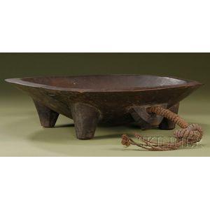Polynesian Carved Wood Kava Bowl