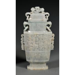 Large Jadeite Covered Vase
