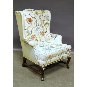 Queen Anne-style Crewelwork-upholstered Walnut Wing Chair.