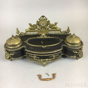 Neoclassical Brass-mounted Ebonized Wood Inkstand