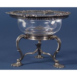 George III Silver and Colorless Glass Sweetmeat Dish