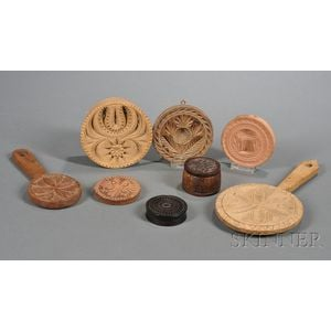 Eight Wooden and Pottery Items